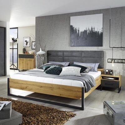 Lit 140x190 cm avec 2 chevets décor chêne et anthracite - DETROIT