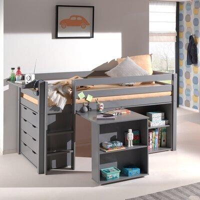 Lit surélevé + bibliothèque + commode 4 tiroirs + bureau gris - PINO
