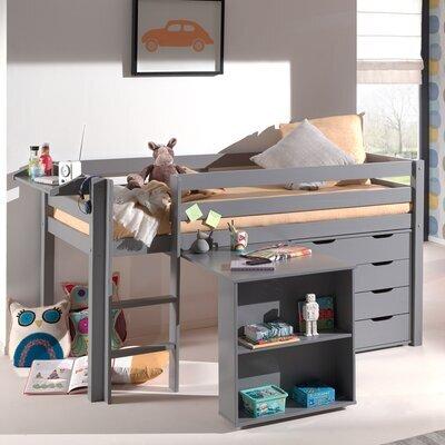 Lit surélevé + bureau + commode 4 tiroirs + étagère gris - PINO