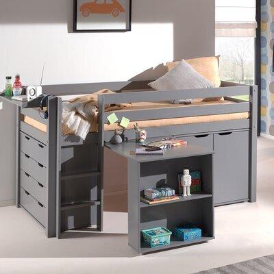 Lit surélevé + bureau + 2 commodes + étagère gris - PINO