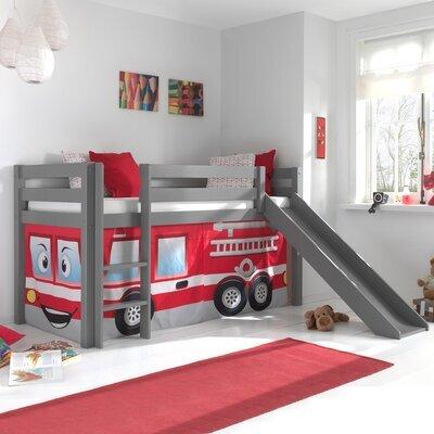 Lit surélevé 90x200 cm avec toboggan gris décor pompier - PINO