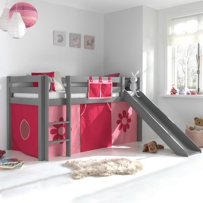 Lit surélevé 90x200 cm avec toboggan gris décor fleurs roses - PINO