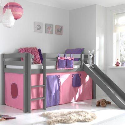Lit surélevé 90x200 cm avec toboggan gris décor rose - PINO