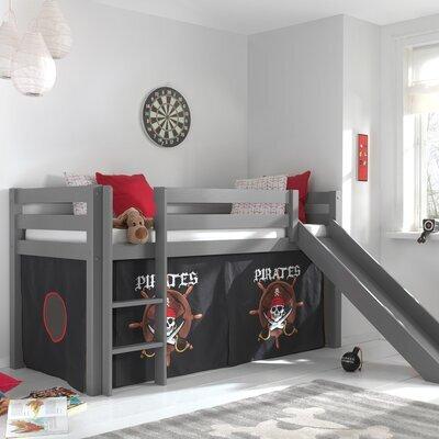 Lit surélevé 90x200 cm avec toboggan gris décor pirates - PINO
