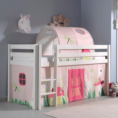 Lit surélevé avec échelle blanc décor et tunnel nature rose - PINO