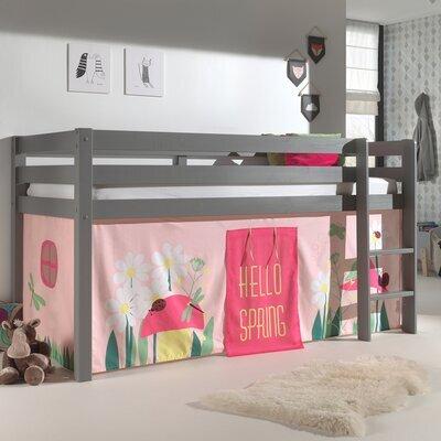 Lit surélevé 90x200 cm avec échelle gris décor nature rose - PINO