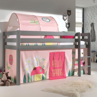 Lit surélevé avec échelle gris décor et tunnel nature rose - PINO