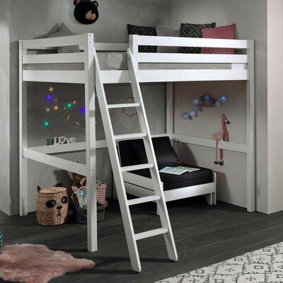Lit surélevé 140x200 cm avec fauteuil blanc - PINO