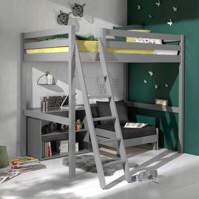 Lit surélevé 140x200 cm avec fauteuil et bibliothèque gris - PINO