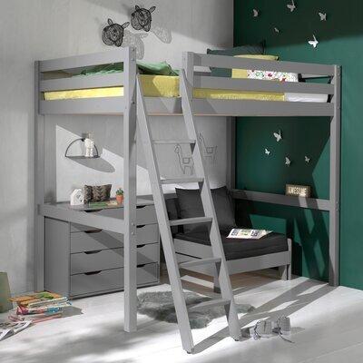 Lit surélevé 140x200 cm avec fauteuil et commode gris - PINO