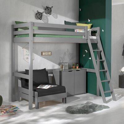 Lit surélevé 90x200 cm avec fauteuil et commode 2 portes gris - PINO