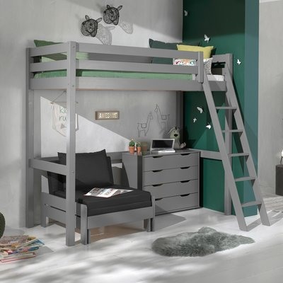 Lit surélevé 90x200 cm avec fauteuil et commode gris - PINO