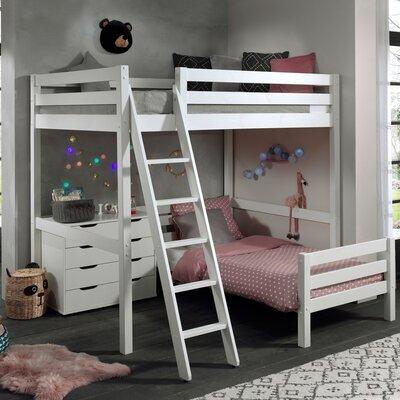 Lit surélevé 140 cm et lit bas 90 cm et commode blanc - PINO