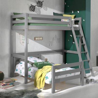 Lit surélevé et lit bas 90x200 cm gris - PINO