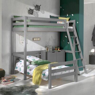 Lit surélevé et lit bas 90x200 cm avec commode 2 portes gris - PINO