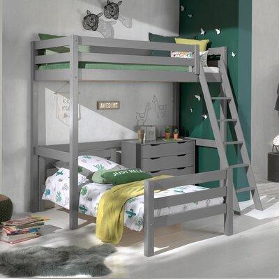 Lit surélevé et lit bas 90x200 cm avec commode gris - PINO