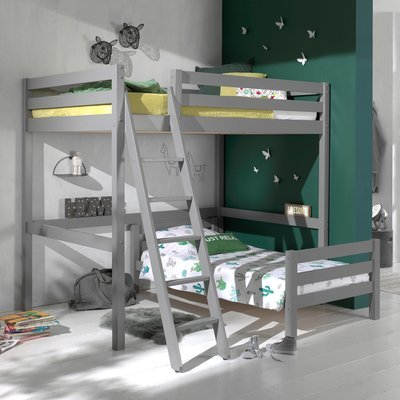 Lit surélevé 140 cm et lit bas 90 cm gris - PINO