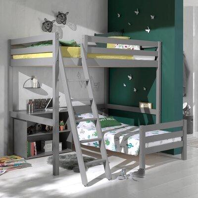 Lit surélevé 140 cm et lit bas 90 cm et bibliothèque gris - PINO