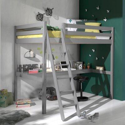 Lit surélevé 140x200 cm avec bureau gris - PINO