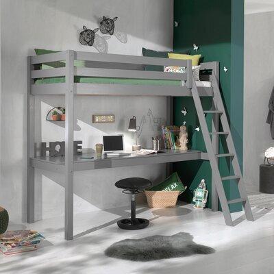 Lit surélevé 90x200 cm avec bureau gris - PINO
