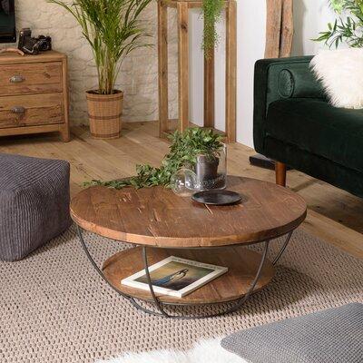 Table basse noire double plateau 80 cm en teck recyclé - APPOLINE