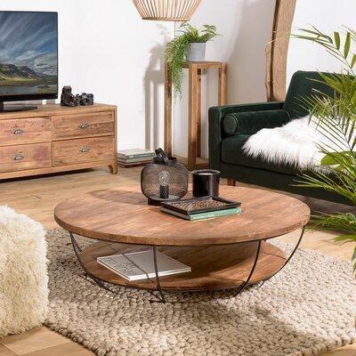 Table basse noire double plateau 120 cm en teck recyclé - APPOLINE