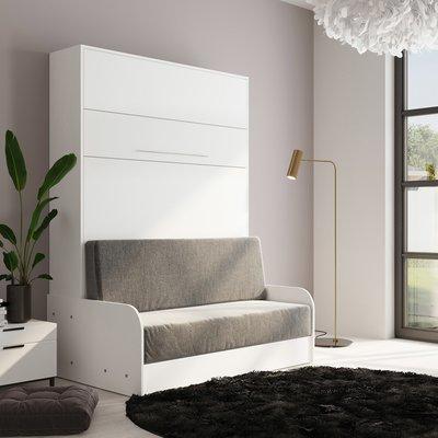 Lit escamotable 140x200 cm + sofa gris avec accoudoirs blancs