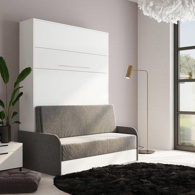 Lit escamotable 140x200 cm + sofa gris avec accoudoirs gris