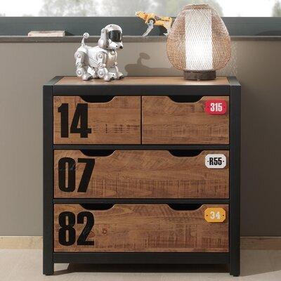 Commode 4 tiroirs 86x42x83 cm marron et noir - BORY