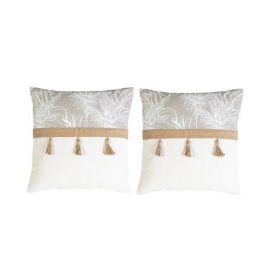 Lot de 2 coussins 50x50 cm imprimés blanc et beige - BAHAMA