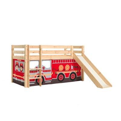Lit surélevé avec toboggan naturel décor camion de pompier - PINO