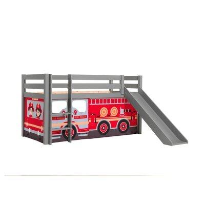 Lit surélevé avec toboggan gris décor camion de pompier - PINO