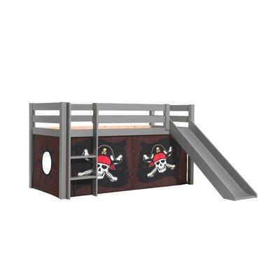 Lit surélevé avec toboggan gris décor pirates - PINO