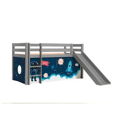 Lit surélevé avec toboggan gris décor astronaute - PINO