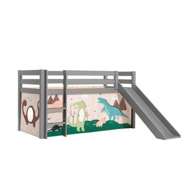 Lit surélevé avec toboggan gris décor dinosaures - PINO