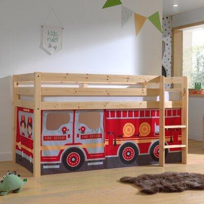 Lit surélevé avec échelle naturel décor camion de pompier - PINO