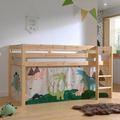 Lit surélevé avec échelle naturel décor dinosaures - PINO