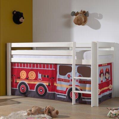 Lit surélevé avec échelle blanc décor camion de pompier - PINO