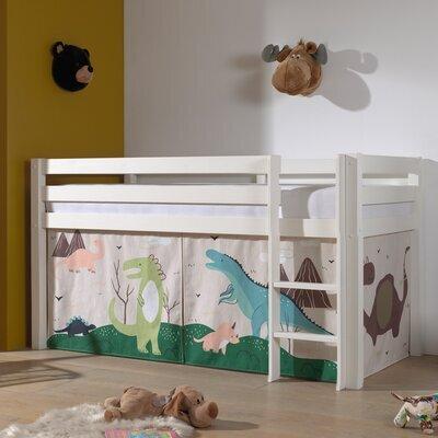 Lit surélevé avec échelle blanc décor dinosaures - PINO
