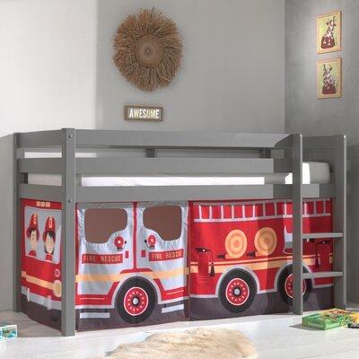 Lit surélevé avec échelle gris décor camion de pompier - PINO