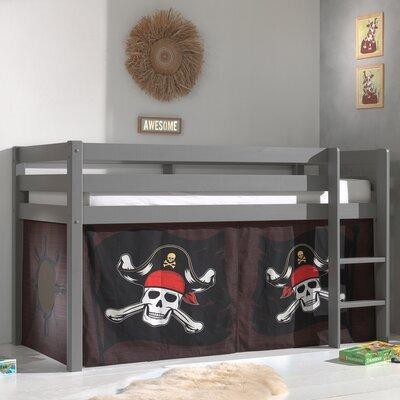 Lit surélevé avec échelle gris décor pirates - PINO