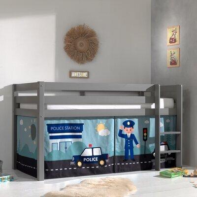 Lit surélevé avec échelle gris décor policier - PINO