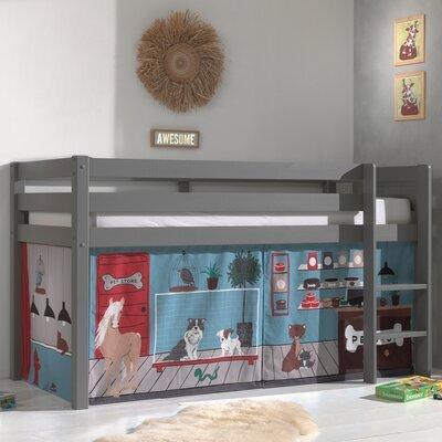 Lit surélevé avec échelle gris décor vétérinaire - PINO