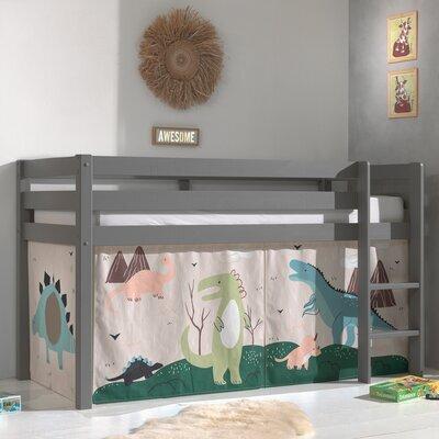 Lit surélevé avec échelle gris décor dinosaures - PINO