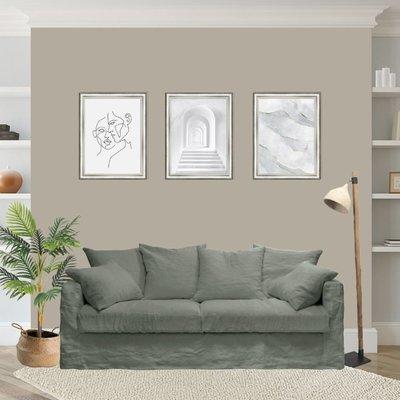 Canapé 4 places fixe en tissu lin kaki - PERUGIA