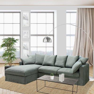 Canapé d'angle à gauche en tissu lin kaki - PERUGIA