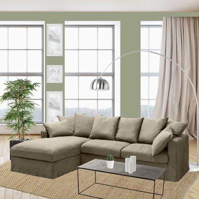 Canapé d'angle à gauche en tissu lin beige - PERUGIA