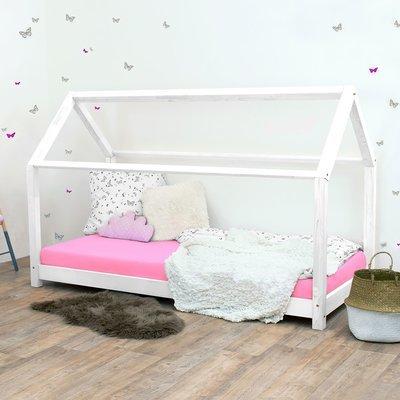 Lit cabane 90x190 cm en bois massif blanc - CABI