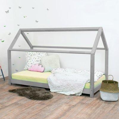 Lit cabane 90x190 cm en bois massif gris - CABI