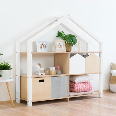 Étagère maison 3 niveaux 146x39x137 cm blanche et naturelle - SHOAN
